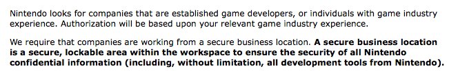 Nintendo even requires you to have a brick-and-mortar office.