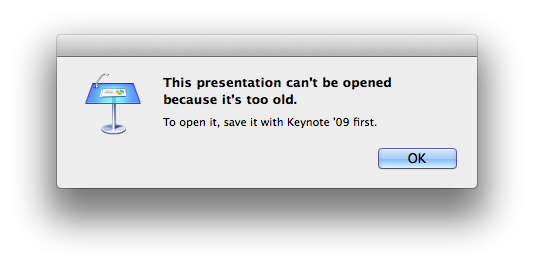 This presentation can't be opened because it's too old