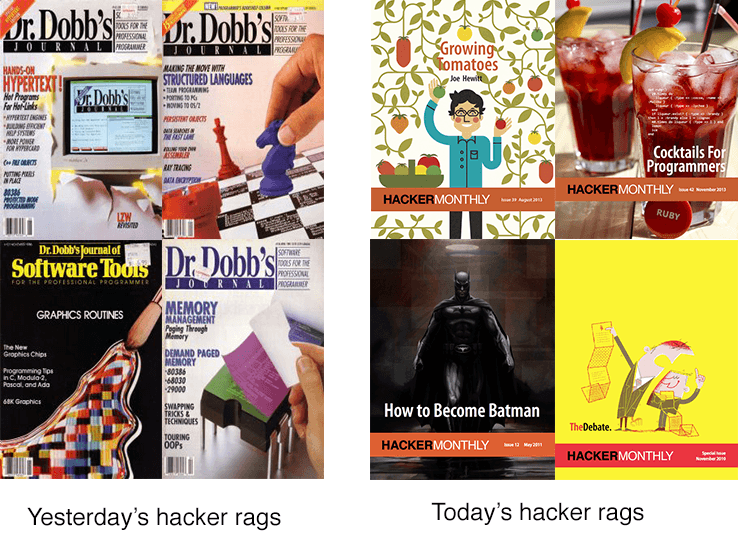Yesterday's hacker mags vs today's hacker mags